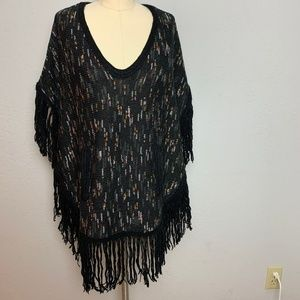 Ella Moss XS/S Soft Cozy Black Sweater Poncho